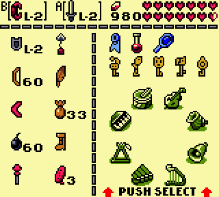 Link's awakening inventory screenshot